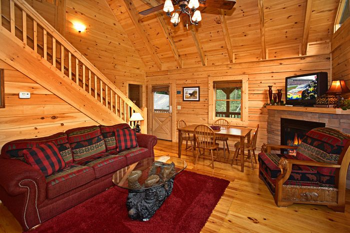 Living Room with Cozy Fireplace - A Bear Abode