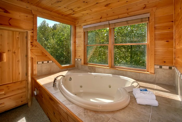 Heart Shape Jacuzzi Tub with Views - A Bears Gatlinburg Den