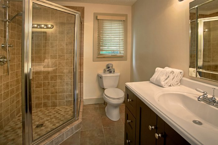 Cabin with Luxury Shower in Master Bathroom - A Castle in the Clouds