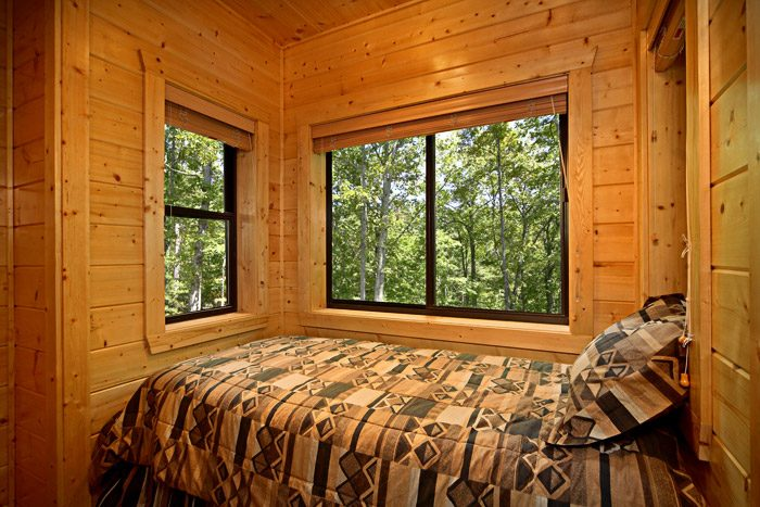 Twin Sized Bed in Queen Bedroom - A Friendly Forest