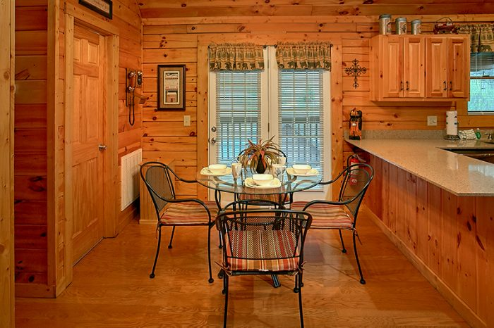 Cabin Dining Room Table & Additional Bar Seating - A Smoky Mountain Jewel