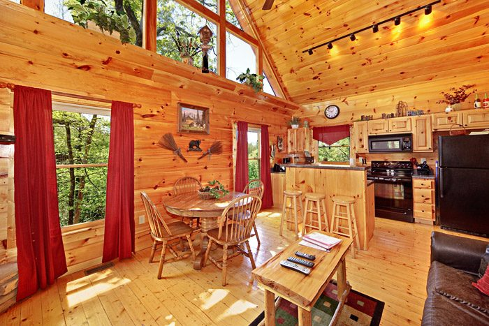 Cabin with Dining Table and Bar Stool Seating - A Tennessee Treasure