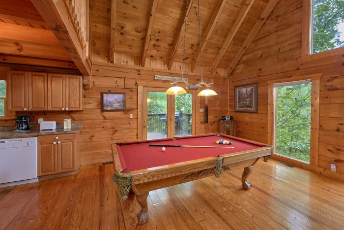 Pool Table on Main Level of Cabin - A Woodland Hideaway