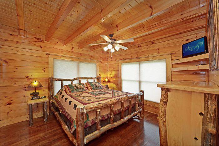 King Sized Bedroom in Cabin - Adventure Lodge