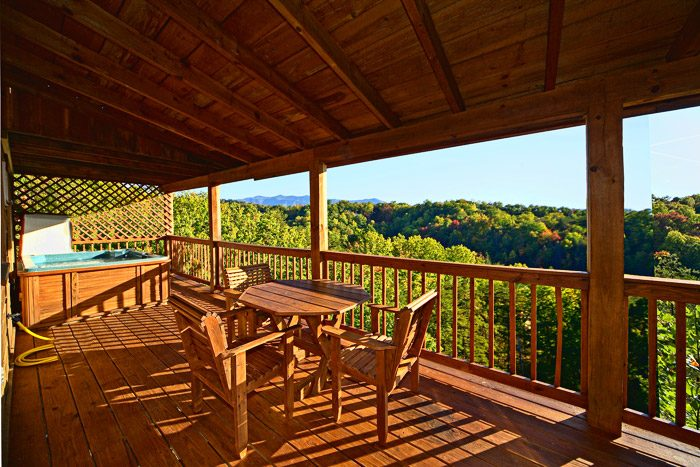 Deck with Hot Tub and Outdoor Furniture - Amazing View