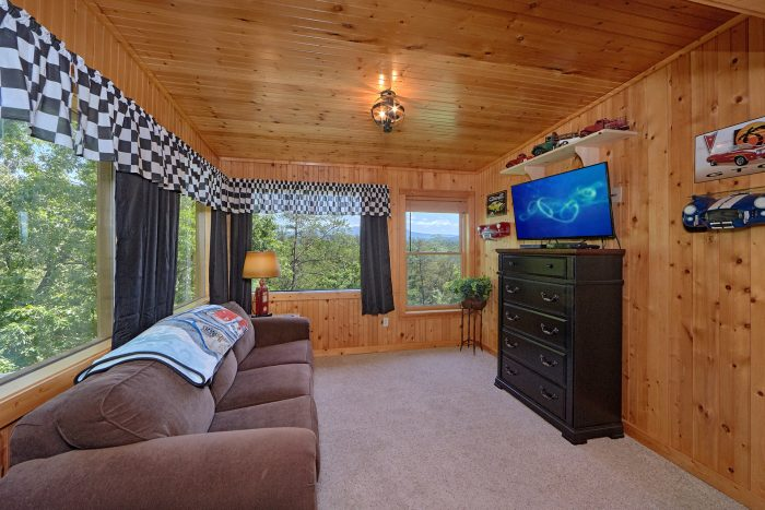 Master Bedroom with King Bed in Luxury Cabin - American Dream Lodge