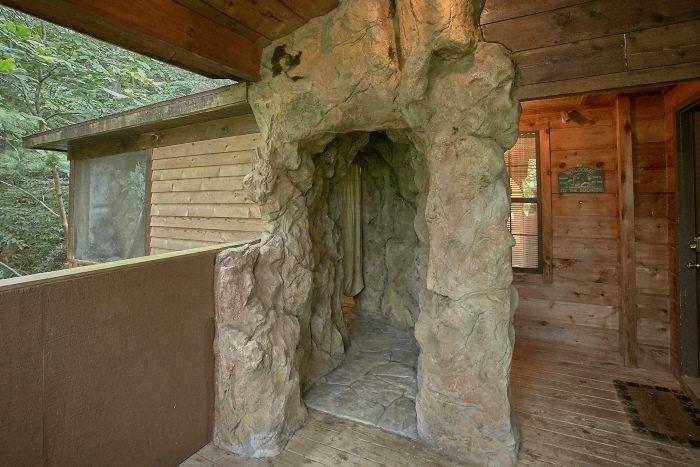 Rustic Cabin with Cave Grotto Hot Tub Area - Bare Bottom Cabin