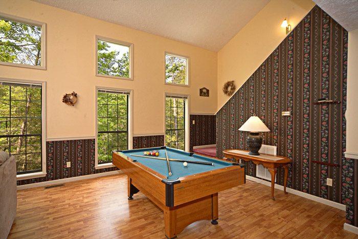 Pool Table in Living Room of Gatlinburg Chalet - Bear Kisses