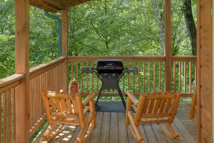 Charcoal Grill and Rocking Chairs on Deck - Bear'ly Makin' It