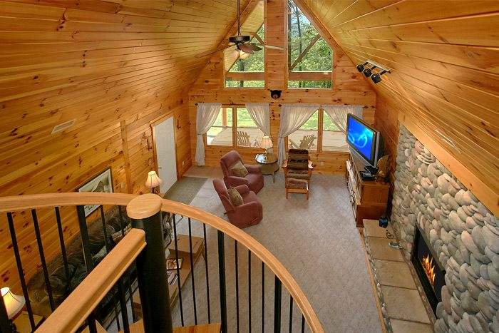 ... Cabin With Spiral Staircase And Loft Game Room   Big Bear ...