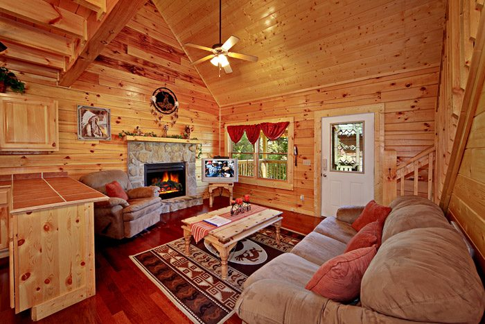 Living Room with Fireplace - Campbells Cabin