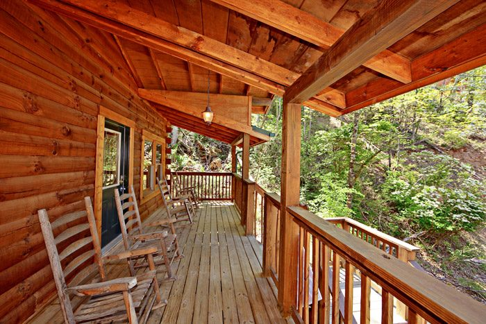 Cabin with Rocking Chairs on Deck - Campbells Cabin