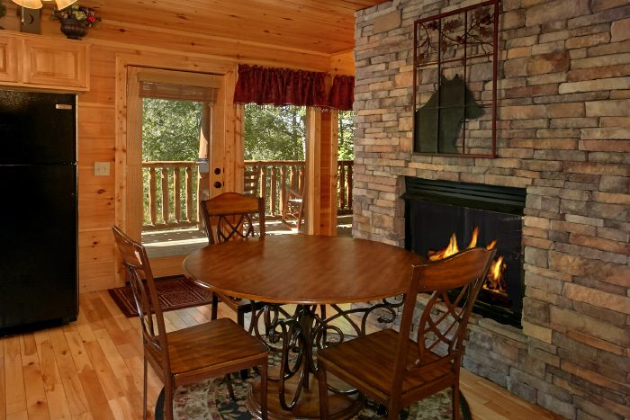 Double Sided Stone Fireplace in Dining Room - Can't Bear To Leave