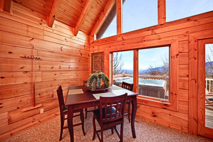Dining Room Table with Smoky Mountain Views - City View Chalet