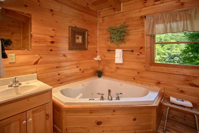 Luxurious Jacuzzi Tub in 1 Bedroom Cabin - Crimson Moon