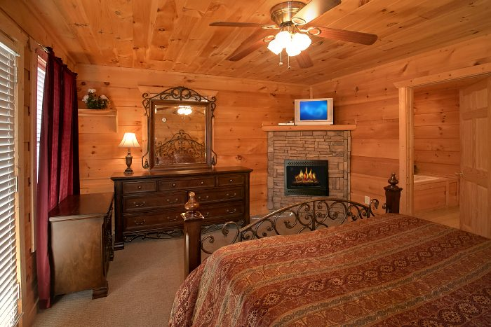 Spacious Master Suite with Fireplace and TV - Crown Jewel