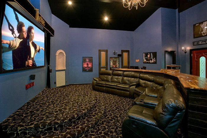 Movie Theater with Recliners and Bar Seating - Gatlinburg Movie Mansion