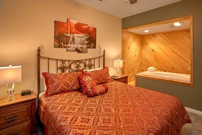 Private King Bedroom with corner Jacuzzi Tub - Gatlinburg Movie Mansion