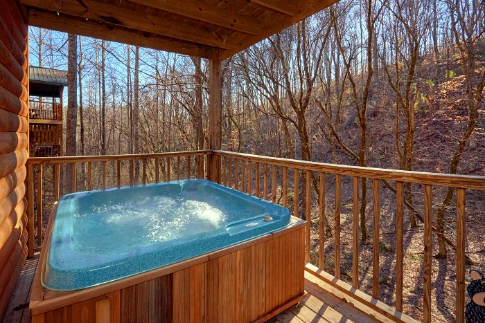Private Hot Tub with Wooded View on Deck - Honey Bear Hill