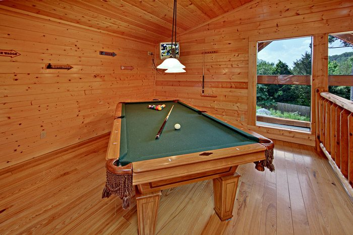 Pool Table in Loft of Cabin - Horsin Around