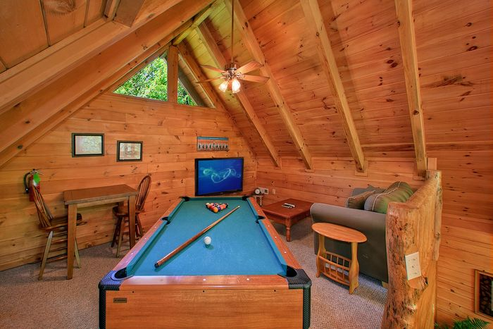 Pool Table in Loft of Gatlinburg Cabin - Jungle Boogie