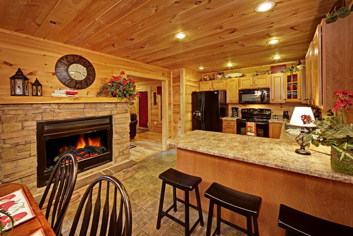 Awesome Kitchen with Two Sided Gas Fireplace - Laurel Cove
