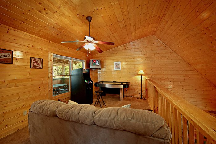 Game Room in Loft of Cabin - Lovers Paradise