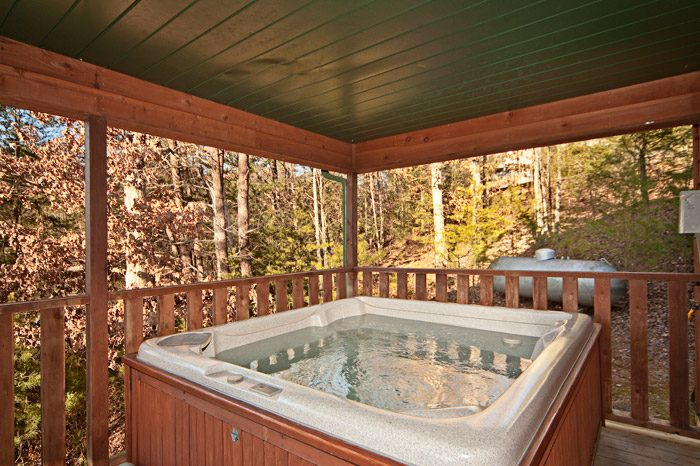 Cabin with Hot Tub on Covered Deck - Mountain Charm
