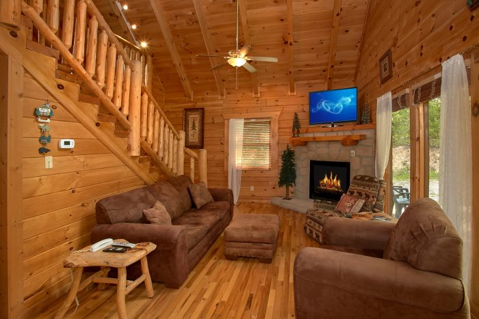 Cozy Cabin with Stone Fireplace and View - Peek A View