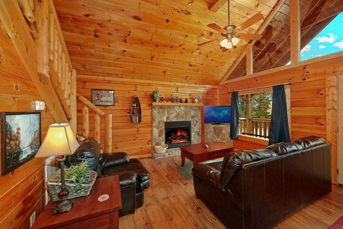 Cozy Living Room in Two Bedroom Cabin - Poolside Cabin