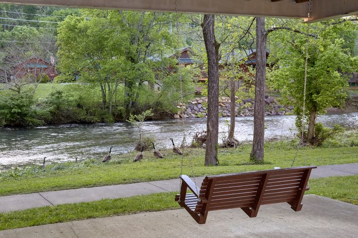 Porch Swing at 2 Bedroom Chalet on the River - River View Chalet