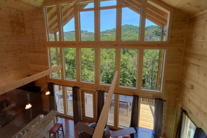 Floor To Ceiling Windows 2 Bedroom Cabin - Scenic Mountain Pool