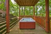 Cabin with hot tub and covered deck