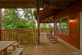 Cabin with covered deck, picnic table, rockers