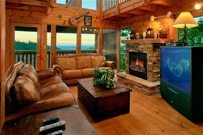 4 bedroom cabin with stone fireplace and view - Smoky Mountain Melody