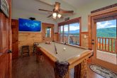 Pool Table and TV in 2 Bedroom Cabin game Room