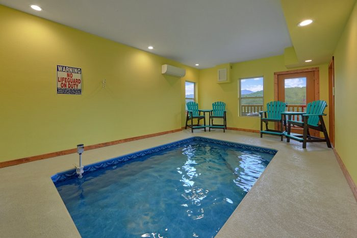 Private Indoor Pool in 2 Bedroom Cabin Rental - Splash Mountain Lodge