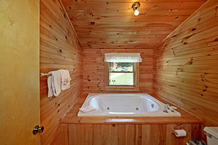 Jacuzzi Tub in Cabin Bathroom - Tucked Away