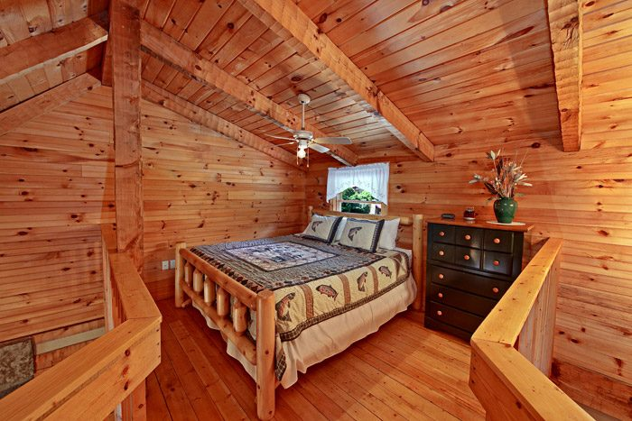 Queen Bed in Cabin Loft - Tucked Away